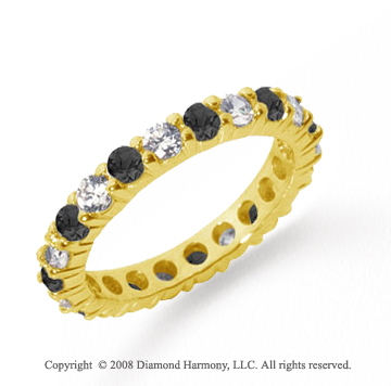 2 Carat Black and White Diamond 18k Yellow Gold Eternity Band