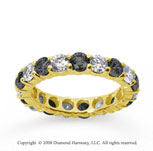 3 Carat Black and White Diamond 18k Yellow Gold Eternity Band