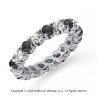 2 Carat Black and White Diamond Platinum Eternity Band