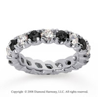3 Carat Black and White Diamond 14k White Gold Eternity Band