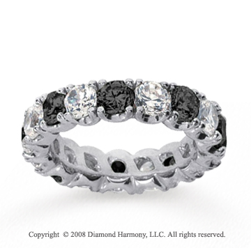 4 1/2 Carat Black and White Diamond 14k White Gold Eternity Band