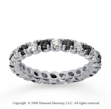 1 Carat Black and White Diamond 18k White Gold Eternity Band