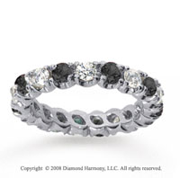 2 Carat Black and White Diamond 18k White Gold Eternity Band