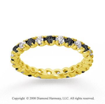 3/4 Carat Black White Diamond 14k Yellow Gold Eternity Band