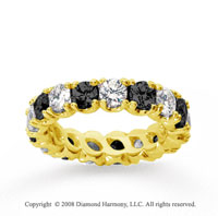4 1/2 Carat Black White Diamond 14k Yellow Gold Eternity Band