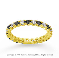 3/4 Carat Black White Diamond 18k Yellow Gold Eternity Band