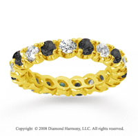 2 Carat Black White Diamond 18k Yellow Gold Eternity Band