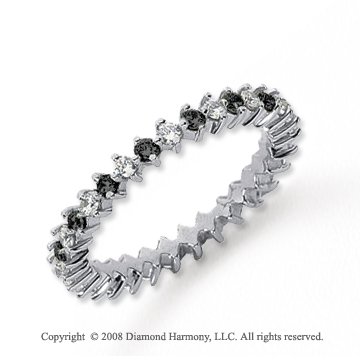 3/5 Carat Black and White Diamond Platinum Eternity Band