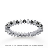3/5 Carat Black and White Diamond 14k White Gold Eternity Band