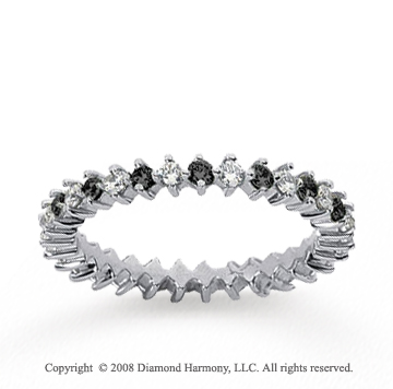 3/5 Carat Black and White Diamond 18k White Gold Eternity Band