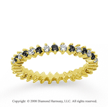 3/5 Carat Black White Diamond 14k Yellow Gold Eternity Band