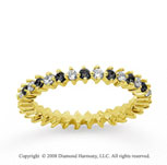 3/5 Carat Black White Diamond 18k Yellow Gold Eternity Band