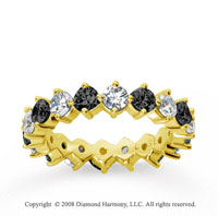 4 Carat Black and White Diamond 18k Yellow Gold Eternity Band