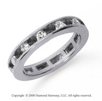 1/2 Carat Black and White Diamond Platinum Eternity Band
