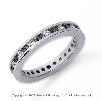 3/4 Carat Black and White Diamond Platinum Eternity Band