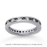 3/4 Carat Black and White Diamond 14k White Gold Eternity Band