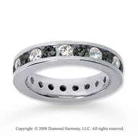 1 1/2 Carat Black and White Diamond 14k White Gold Eternity Band