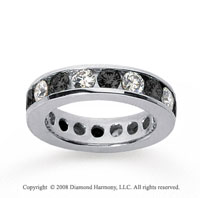 2 1/2 Carat Black and White Diamond 14k White Gold Eternity Band