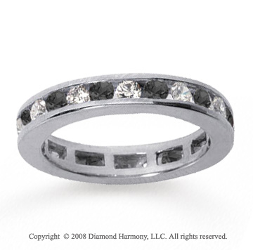 1/2 Carat Black and White Diamond 18k White Gold Eternity Band