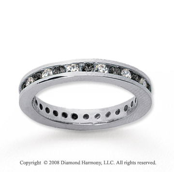 3/4 Carat Black and White Diamond 18k White Gold Eternity Band