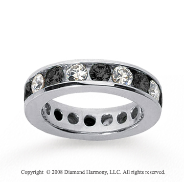 3 Carat Black and White Diamond 18k White Gold Eternity Band