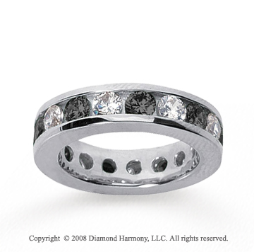 3 1/2 Carat Black and White Diamond 18k White Gold Eternity Band