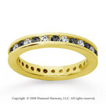 3/4 Carat Black and White Diamond 14k Yellow Gold Eternity Band