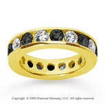 3 Carat Black and White Diamond 14k Yellow Gold Eternity Band
