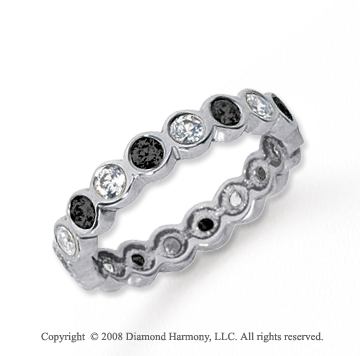 1 Carat Black and White Diamond Platinum Eternity Band