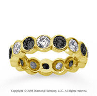 2 Carat Black and White Diamond 14k Yellow Gold Eternity Band