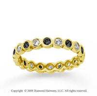 1/2 Carat Black and White Diamond 18k Yellow Gold Eternity Band