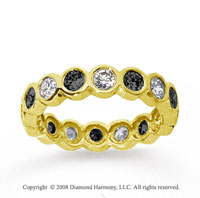 1 1/2 Carat Black White Diamond 18k Yellow Gold Eternity Band