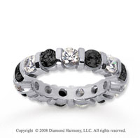 4 Carat Black and White Diamond 14k White Gold Eternity Band