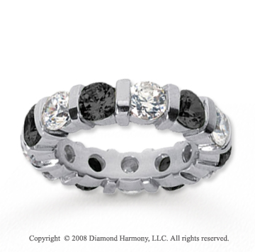 5 Carat Black and White Diamond 18k White Gold Eternity Band