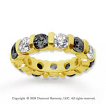 5 Carat Black and White Diamond 18k Yellow Gold Eternity Band