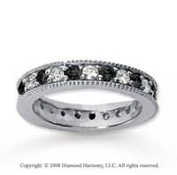 1 1/4 Carat Black and White Diamond 18k White Gold Eternity Band