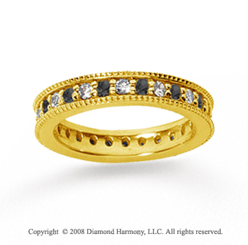 1 Carat Black and White Diamond 14k Yellow Gold Eternity Band