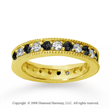 1 1/4 Carat Black White Diamond 18k Yellow Gold Eternity Band