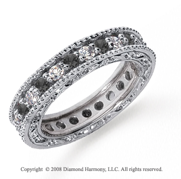 1 1/4 Carat Black and White Diamond Platinum Eternity Band