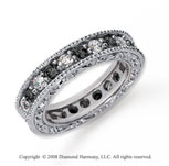 1 1/2 Carat Black and White Diamond Platinum Eternity Band