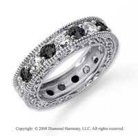 3 Carat Black and White Diamond Platinum Eternity Band