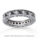 1 1/4 Carat Black and White Diamond 14k White Gold Eternity Band