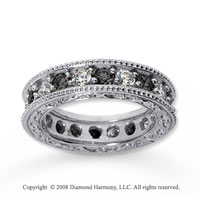2 Carat Black and White Diamond 14k White Gold Eternity Band