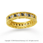 1 1/4 Carat Black White Diamond 14k Yellow Gold Eternity Band