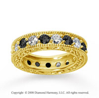 3 Carat Black White Diamond 14k Yellow Gold Eternity Band