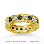 3 Carat Black White Diamond 18k Yellow Gold Eternity Band