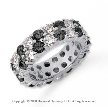 3 1/2 Carat Black and White Diamond Platinum Eternity Band