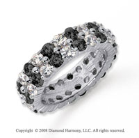 4 1/2 Carat Black and White Diamond Platinum Eternity Band