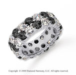 6 1/2 Carat Black and White Diamond Platinum Eternity Band