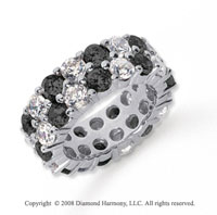 8 1/2 Carat Black and White Diamond Platinum Eternity Band